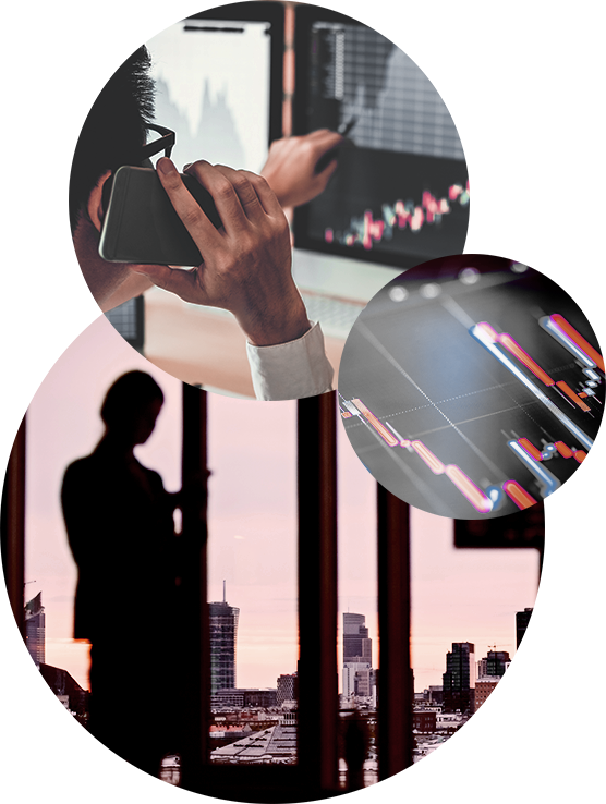 Drone-view of a city skyline at dusk overlayed with three circular images of a stock broker pointing to a screen with a stock index, a screen with statistical graphs and a silouehette of a woman with tall buildings in the background