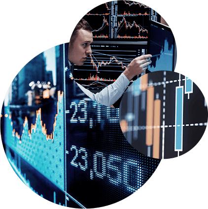Three circular images laid on top of each other with one of a man pointing at a screen, a collection of Gantt charts on a screen, and a digital rendition of a stock index