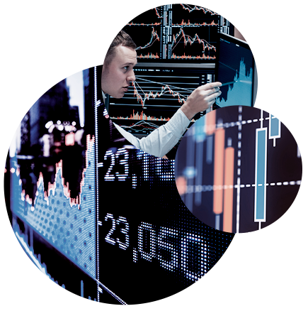A picture with a man pointing at a screen, next a collection of Gantt charts on a screen, and a digital rendition of a stock index.