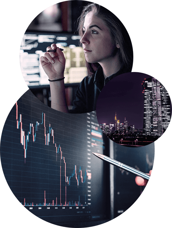 Worm's-eye view of a futuristic building with circular windows overlayed with three circular images of a female trader holding a pen, nightview of a city skyline, and stock index graph on a digital screen