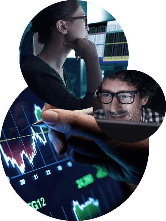 An image of office buildings overlayed with three circular images of a girl wearing glasses looking at a screen, a man wearing glasses looking at a screen and a stock index graph on a digital device