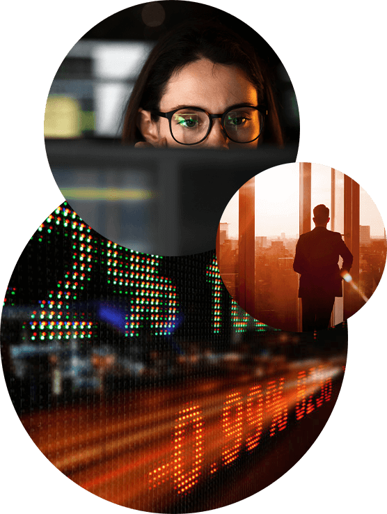 Image of an office buidling overlayed with three circular images of a girl wearing glasses looking at screen, a man looking out a window at askyline and a digitally rendered running stock index