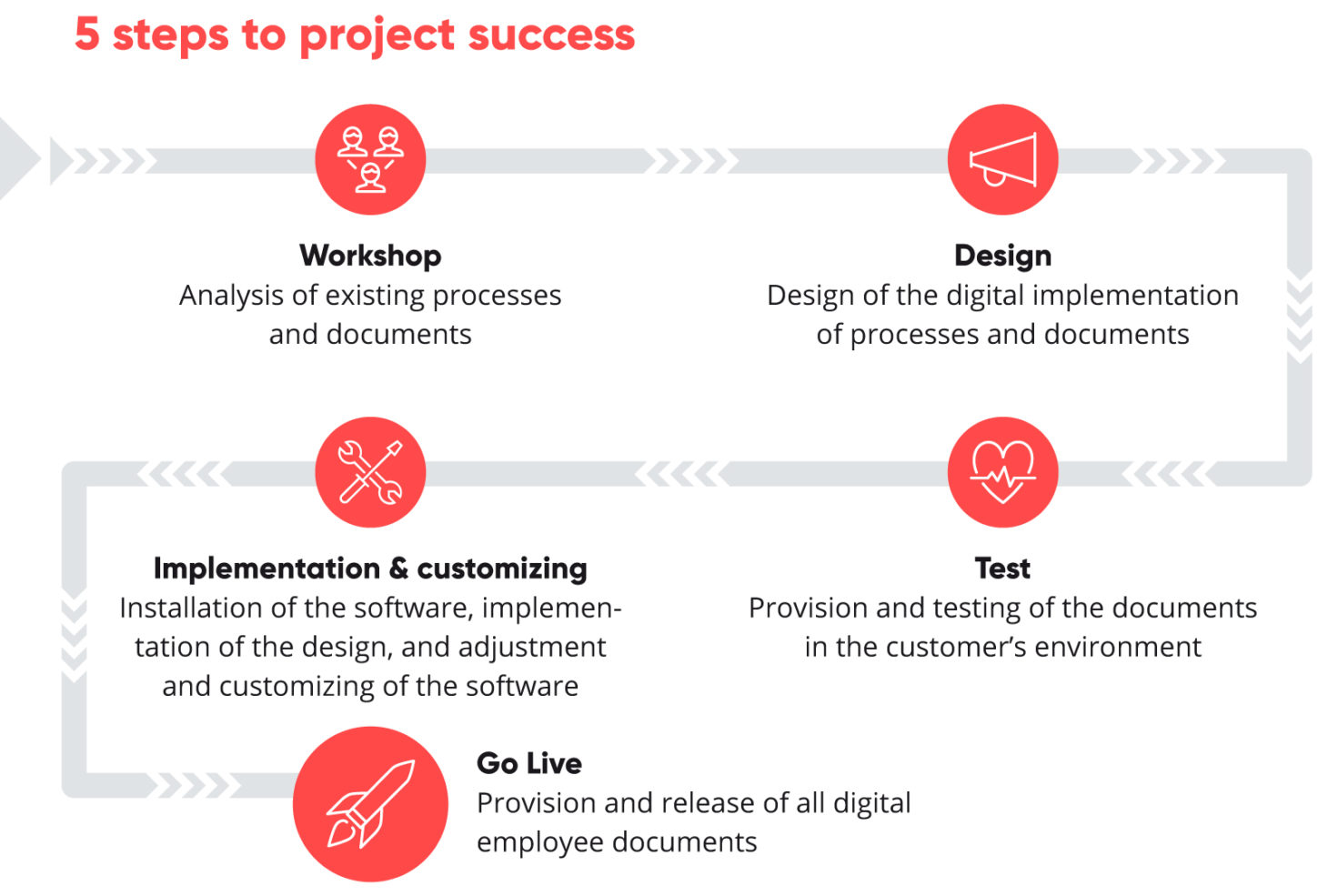 Picture of the 5 steps to project success, valantic HCM Payslip