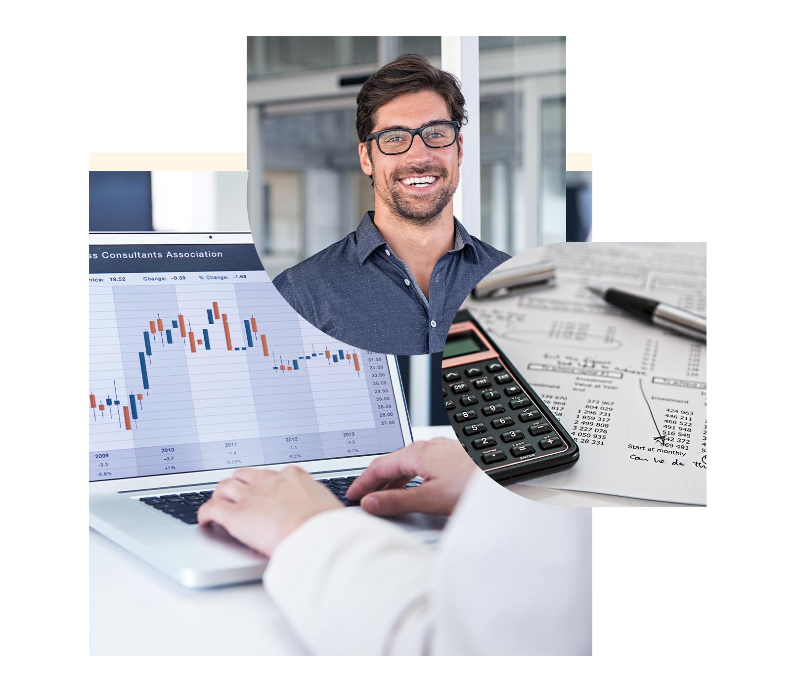 Drei Kreise bestehend aus einem lächelnden Mann mit Brille, einem Diagramm auf einem Monitor und einem Taschenrechner und Stift   IBM Cognos Analytics with Watson - Dreiklang