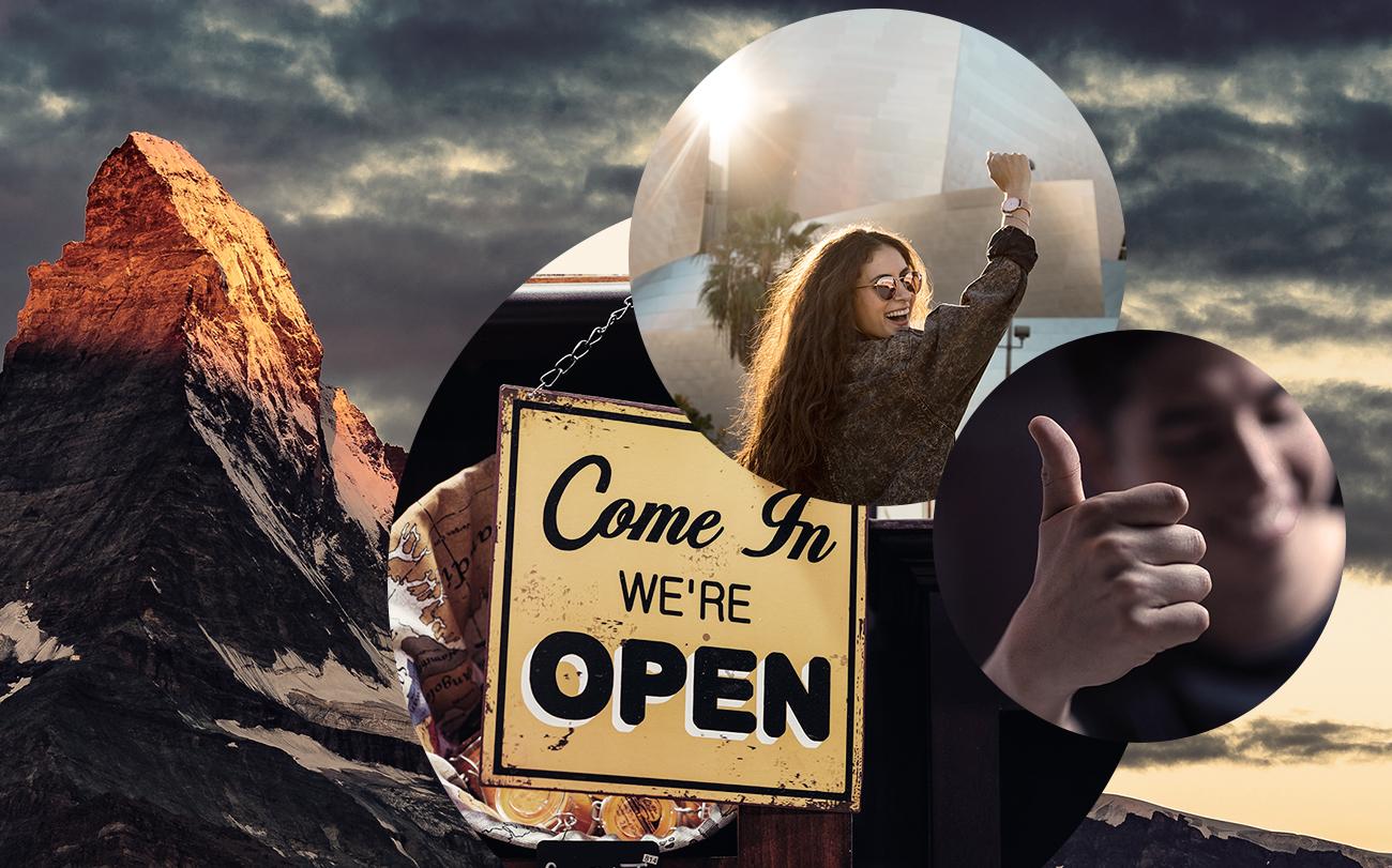 """Bild einer glücklichen Frau, daneben ein Bild von einem Daumen nach oben und dahinter ein Bild von einem Schild mit der Aufschrift """"Come in we're open"""" und ein Bild von Bergen, valantic Blogbeitrag Peak-End-Rule"""