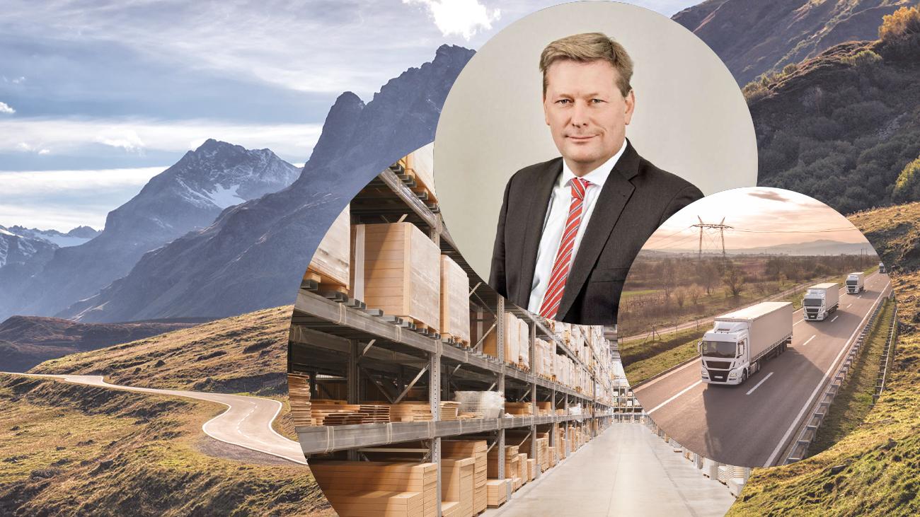 Bild von Dr. Falk von Falkhausen, valantic Partner und Geschäftsführer im Competence Center Supply Chain Excellence, daneben ein Bild von fahrenden LKW's und dahinter Bilder von einem Lager und einer Bergstraße