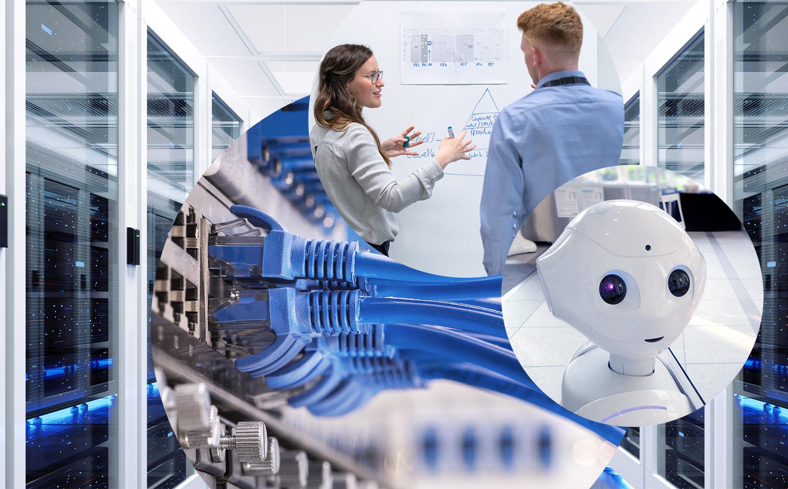 Die Abbildung zeigt unseren Data Science Dreiklang, bestehend aus eine Serverraum, einem Roboter und zwei Personen vor einem Flipchart.
