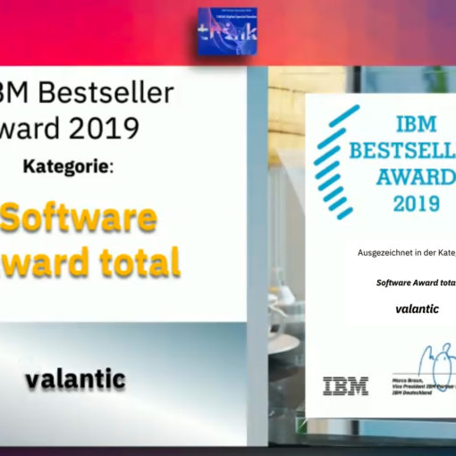 Picture of the ceremony of the IBM Bestseller Award for valantic