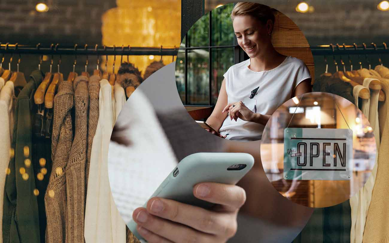 "Picture of a woman shopping online with her smartphone, next to it a picture of a sign saying ""Open"" and behind it a picture of a smartphone and clothes, valantic mobile commerce"