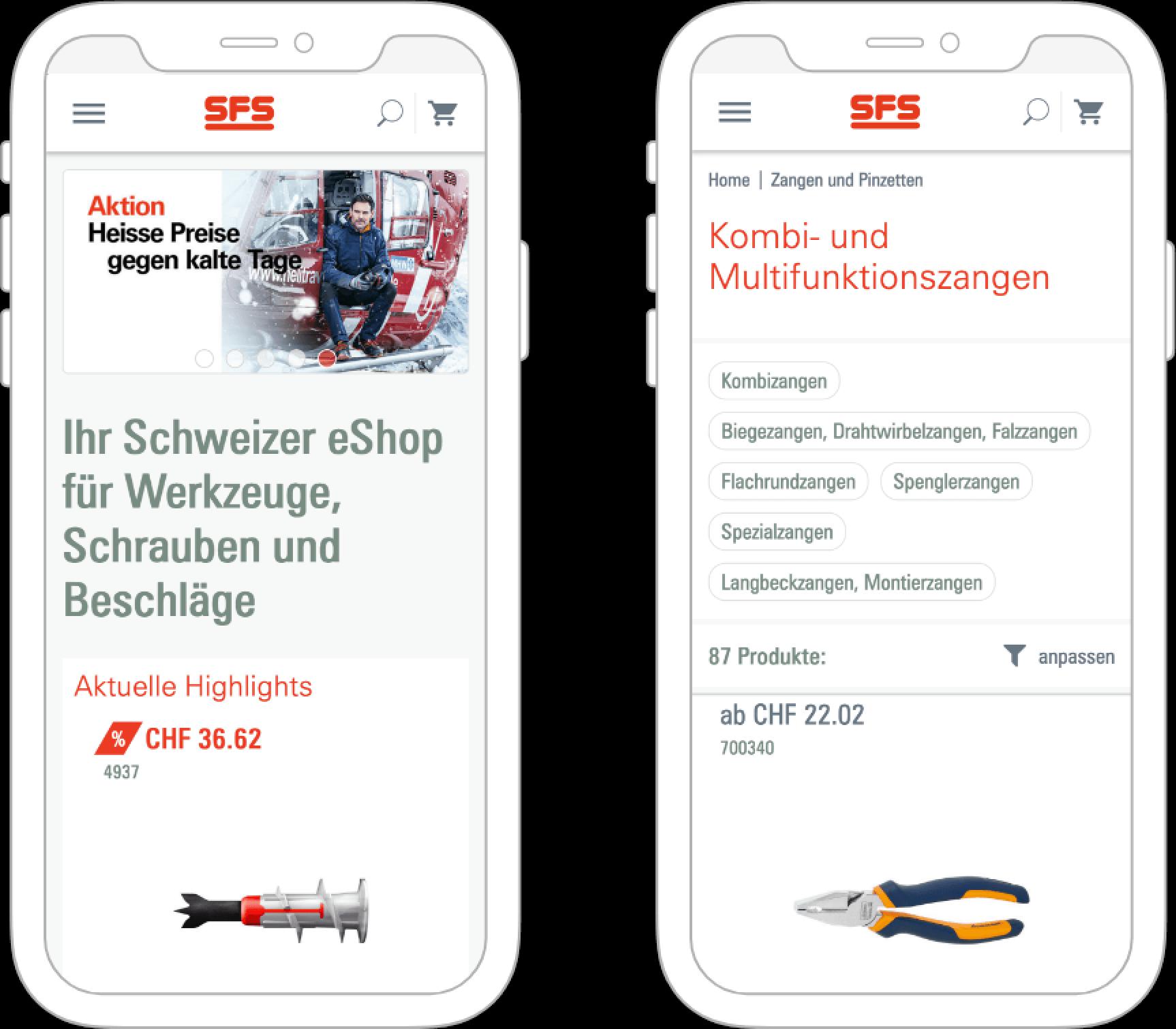 Bild eines Smartphones mit Screenshot von SFS Website, valantic Case Study