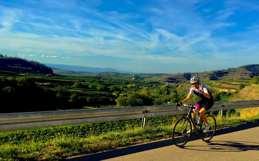Picture of Sabine Naumann, Head of Human Resources at valantic, while cycling