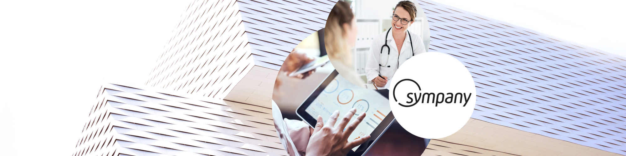 The image shows a triad for the Sympany success story, consisting of the logo, a tablet with analytics reports and a doctor-patient conversation.