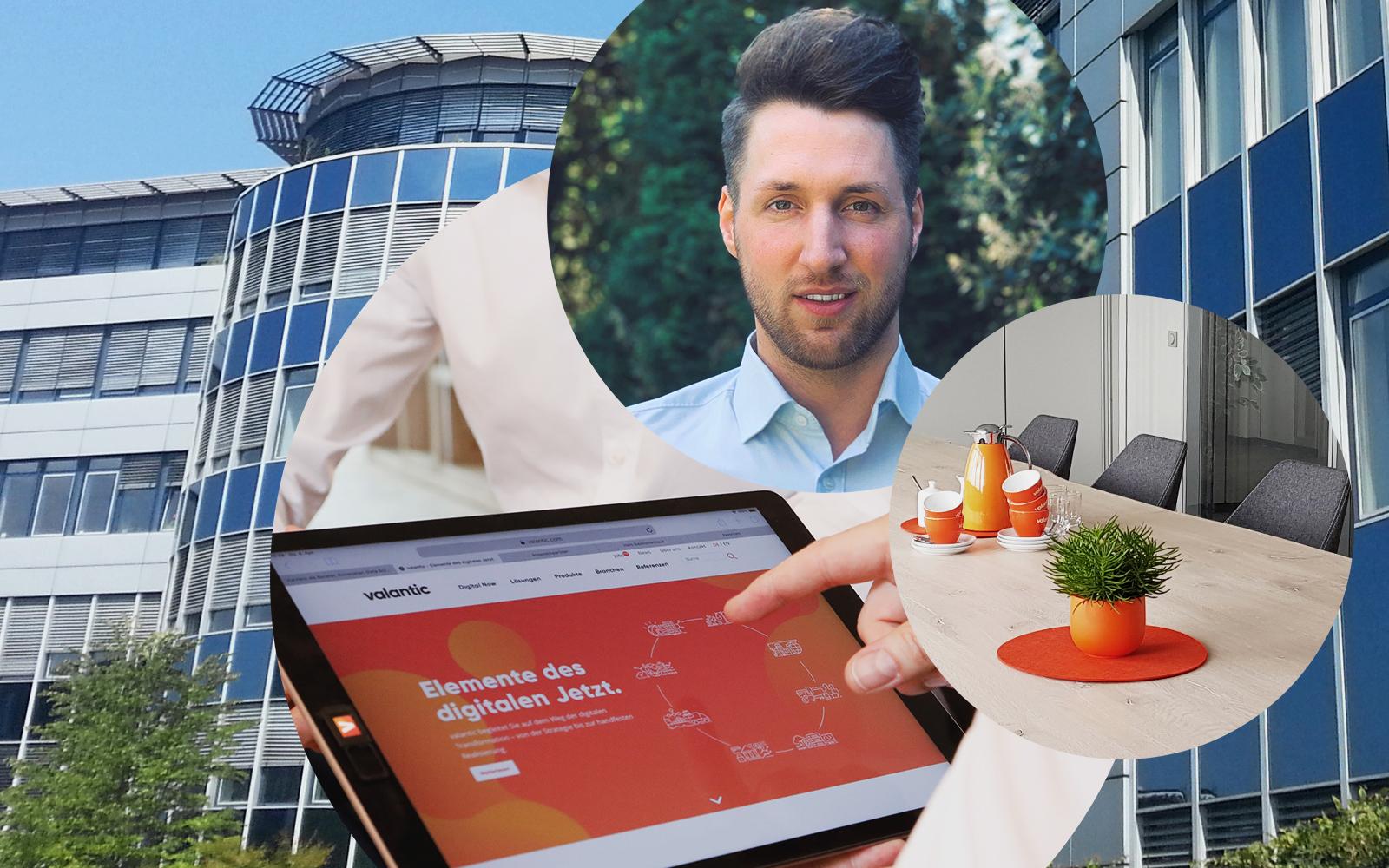 Bild von Bernd Besecke, Managing Consultant SAP bei valantic ERP, Bürogebäude in Langenfeld, Konferenzraum, Tablet mit valantic Website