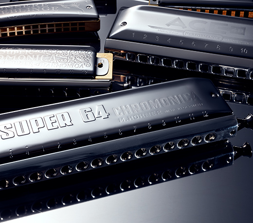 closeup of harmonicas,Hohner and Sonor