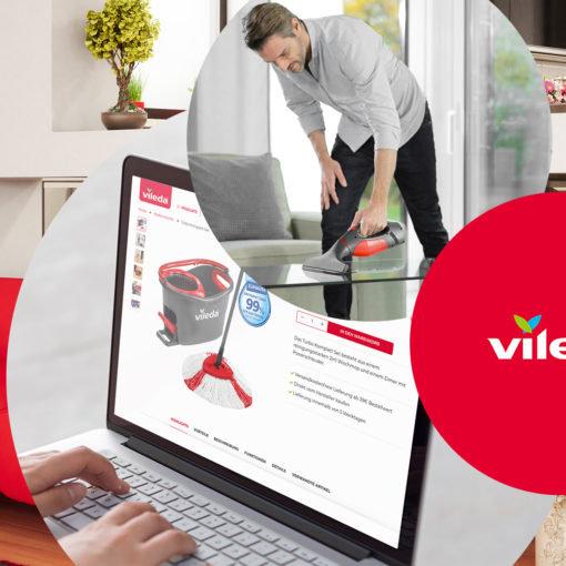 Image of a man cleaning a table, next to it the logo of Vileda and the Vileda website, valantic case study