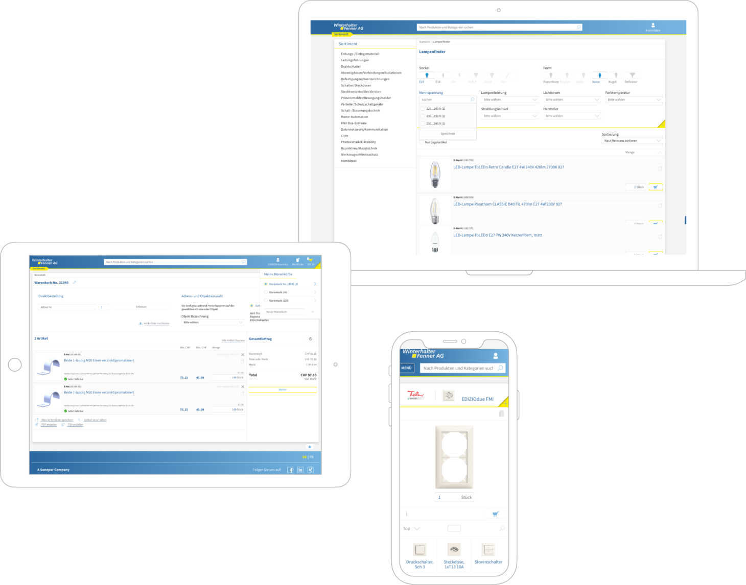 image of some Screenshots on different mobile devices, valantic Case Study Winterhalter Fenner AG