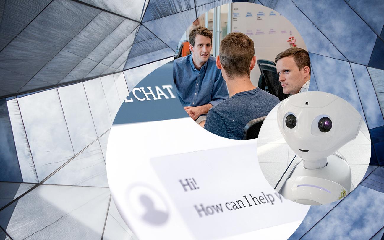 Bild eines Roboters, einer Gruppe von diskutierenden Menschen, ein Chatfenster eines Chatbots