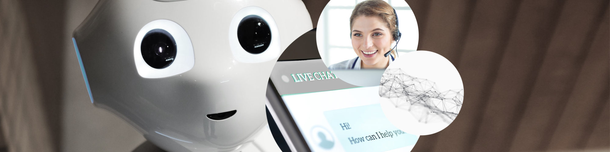 Picture of a woman with a headset, next to it a picture of a network and behind it pictures of a robot and a chat process with a bot, valantic chatbots Conversational AI