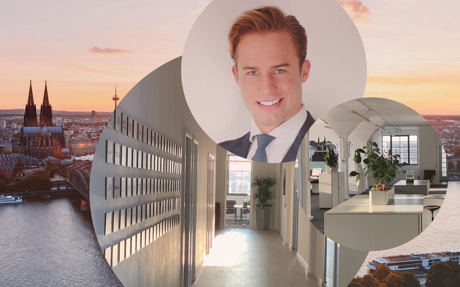Bild von Christian, Consultant SAP S/4HANA Finance bei LINKIT Consulting - a valantic company, im Hintergrund die Büroräume von LINKIT sowie die Stadtansicht von Köln