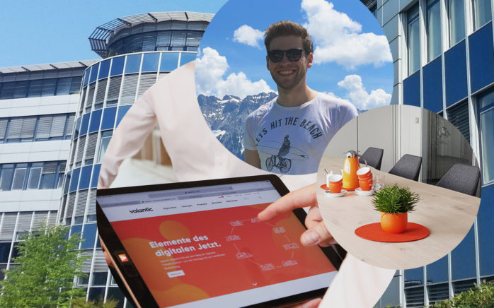 Image of Christian Schneider, Junior Consultant SAP at valantic ERP, office in Langenfeld, conference room, valantic website on a tablet computer