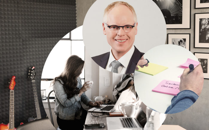 Image of a woman on a laptop, sticky notes and Christoph Resch, Managing Director at valantic Customer Engagement and Commerce Germany