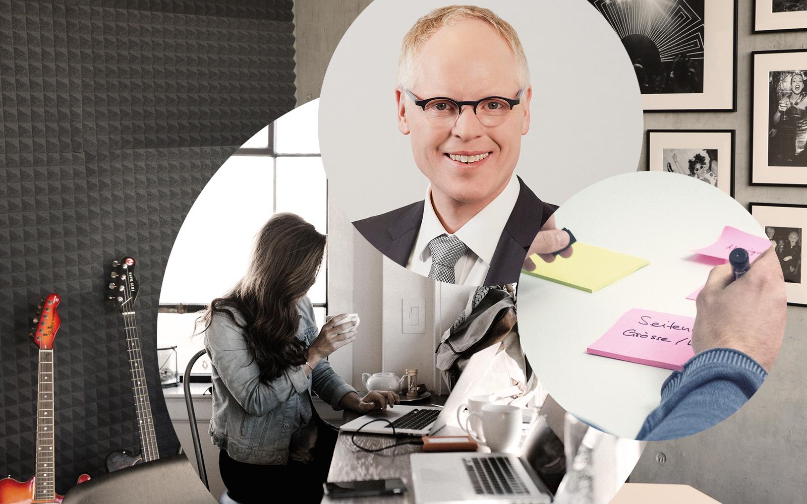 Bild von Christoph Resch, Geschäftsführer bei valantic CEC Deutschland, daneben das Bild einer Frau am Laptop und einigen Notizzetteln