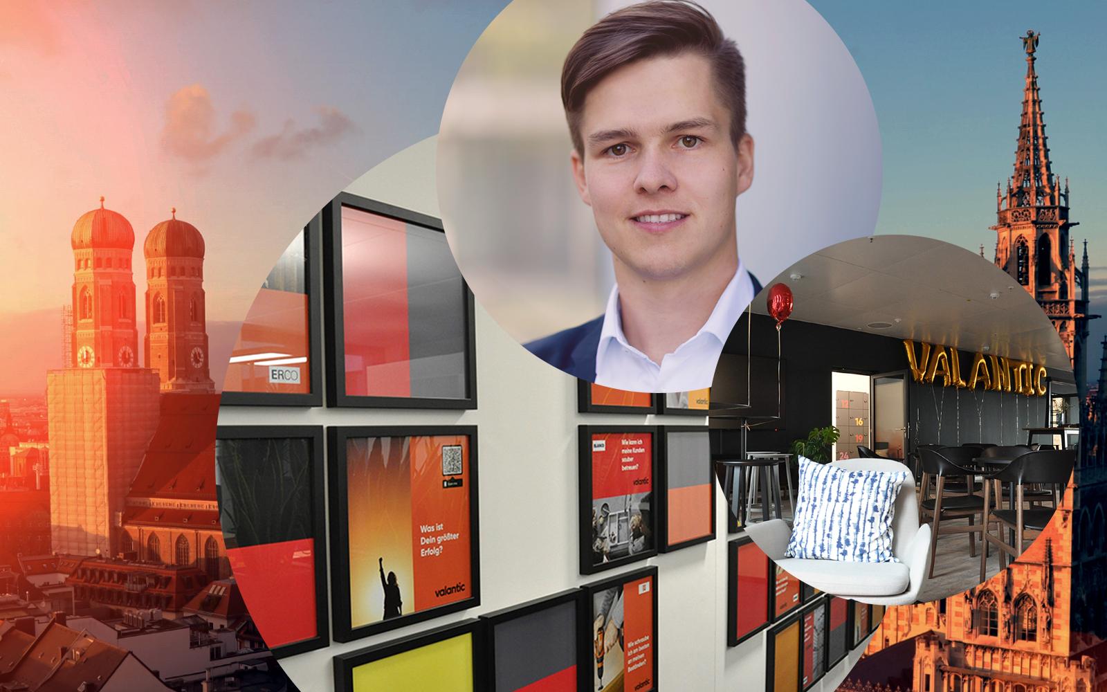 Bild von Christoph Schnitzenbaumer, Senior Consultant SAP TM & EWM bei valantic Supply Chain Excellence, im Hintergrund die Büroräume der valantic SCE in München sowie die Stadtansicht von München
