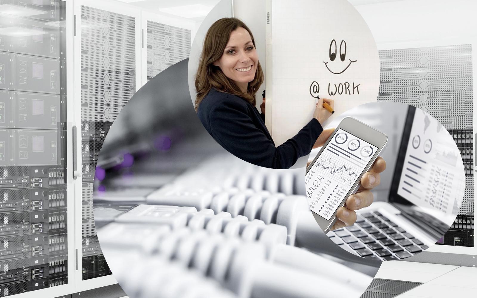 Bild von Claudia Sehr, Geschäftsbereichsleiterin IT Services bei valantic Telco Solutions & Services, im Hintergrund ein Rechenzentrum sowie Kabel und Laptop