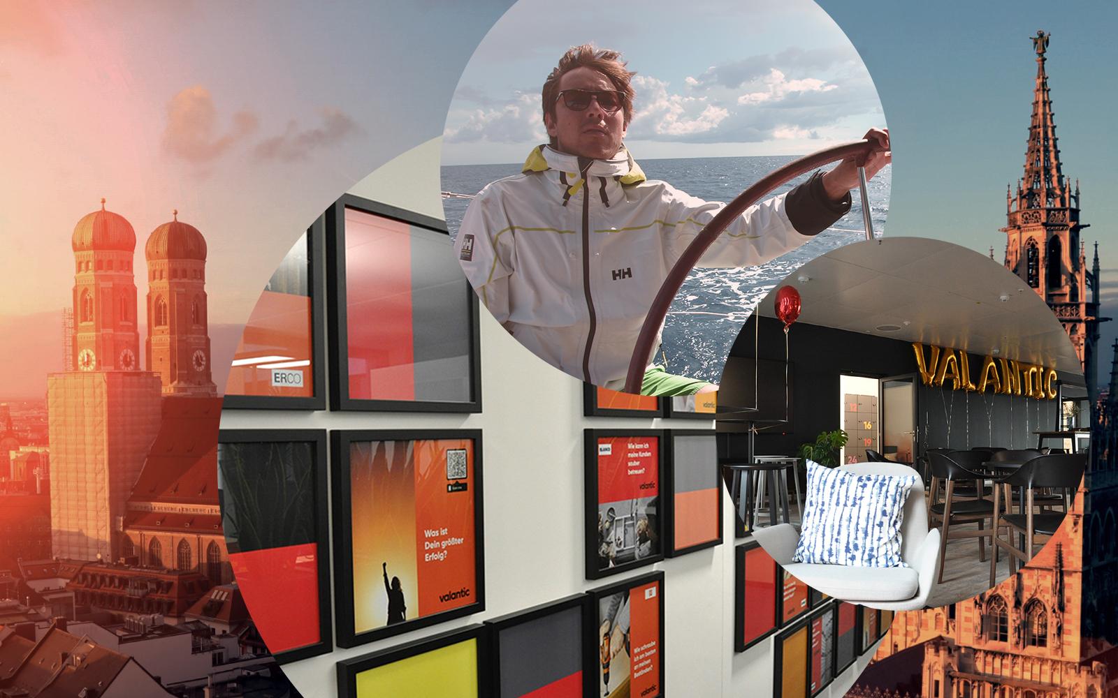 Bild von Claudius Rieger, Senior Consultant Integrated Business Planning bei valantic Supply Chain Excellence, daneben Bilder des Münchener valantic Büros, im Hintergrund die Stadt München