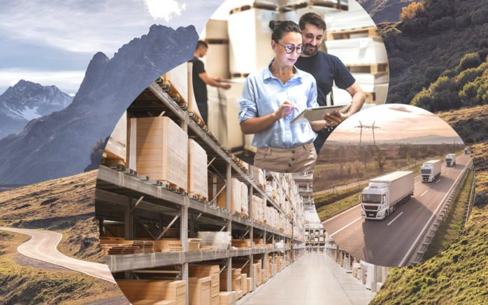 Picture of two people in a warehouse, next to it pictures of moving trucks and behind them pictures of a warehouse and a mountain road, valantic Connected Chain Manager