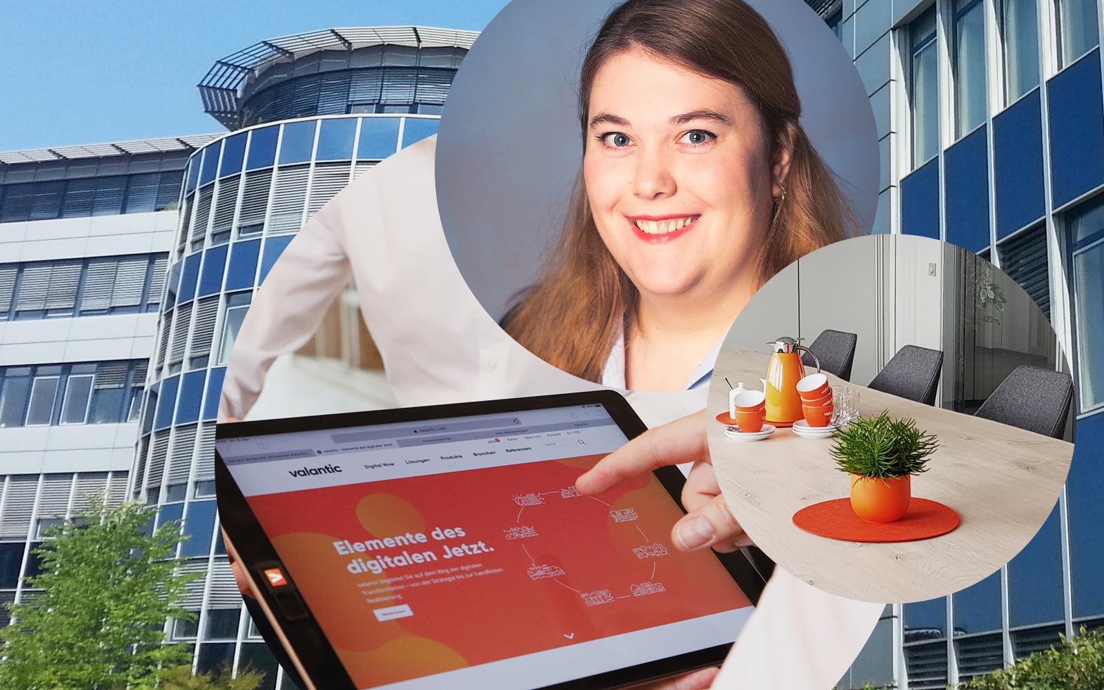 Bild von Corinna Sahan, Junior Consultant SAP QM bei valantic Enterprise Resource Planning, im Hintergrund das Bürogebäude von valantic in Langenfeld sowie ein Tablet mit der valantic Homepage und ein Konferenzraum