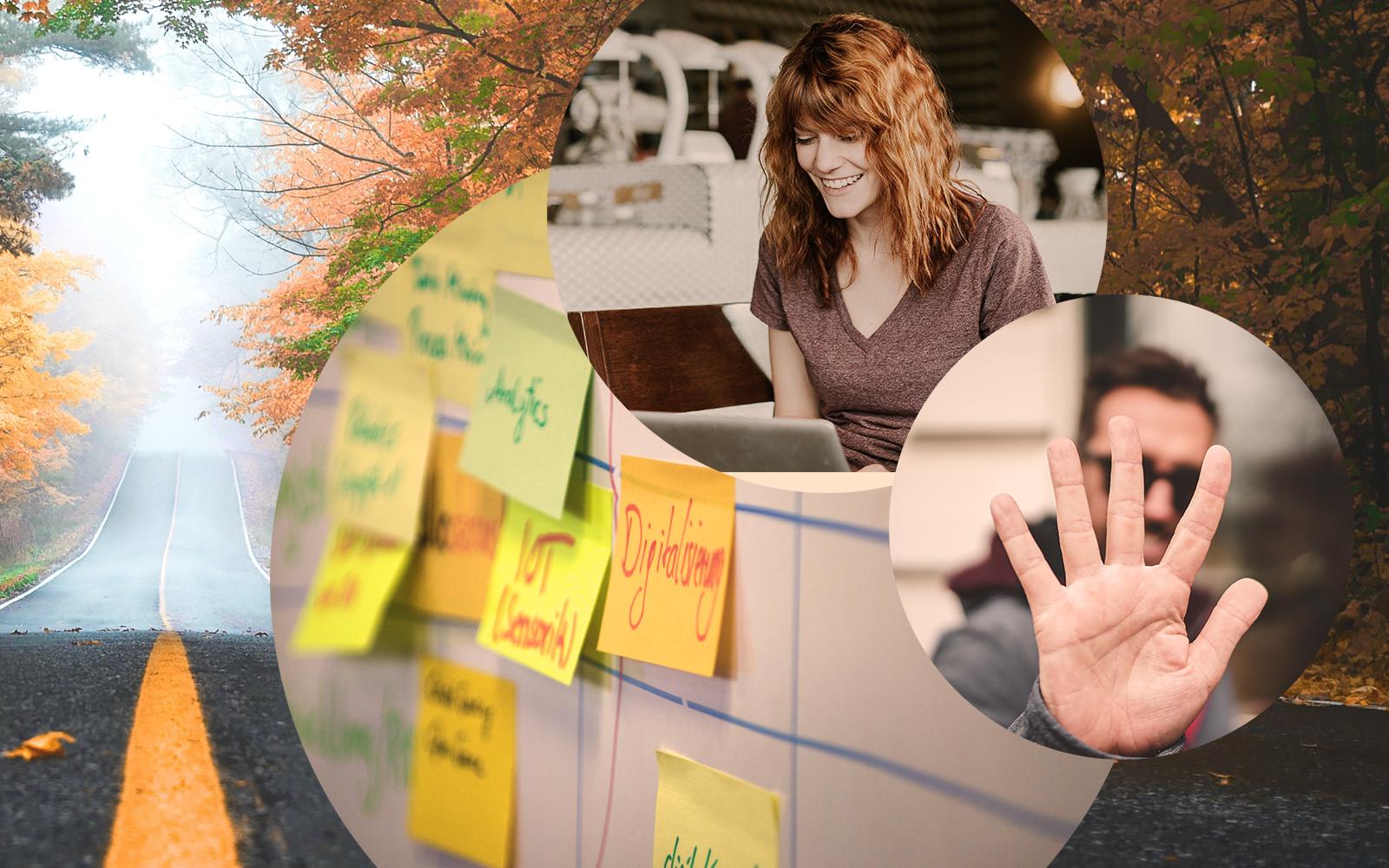 Bild einer Frau vor einem Laptop, daneben Post-its, 5 Gründe für Customer Experience Management