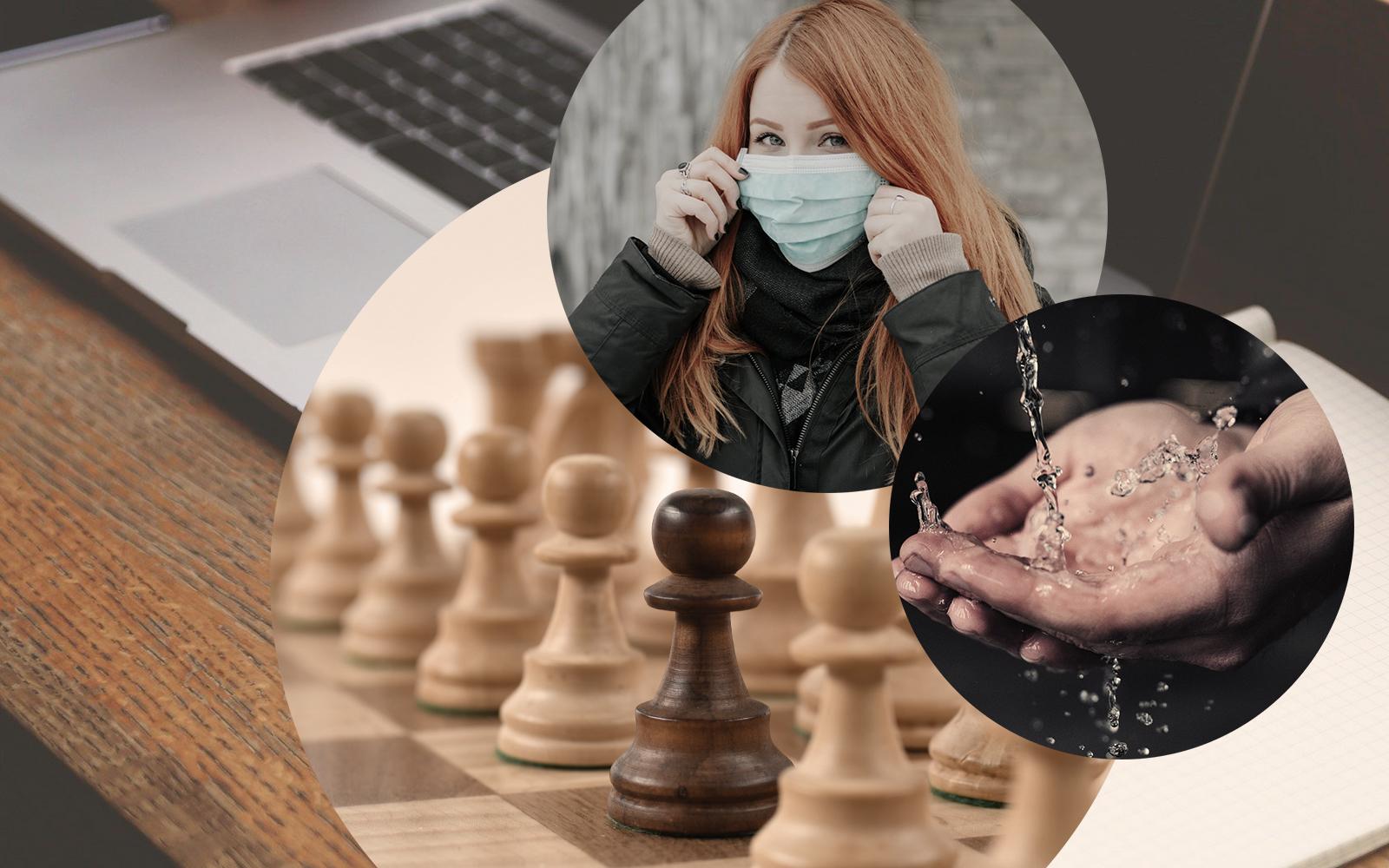Bild einer Frau mit Maske zum Schnutz vor dem Coronavirus, ein Laptops sowie ein Schachbrett und ein Bild von Händen, die gewaschen werden