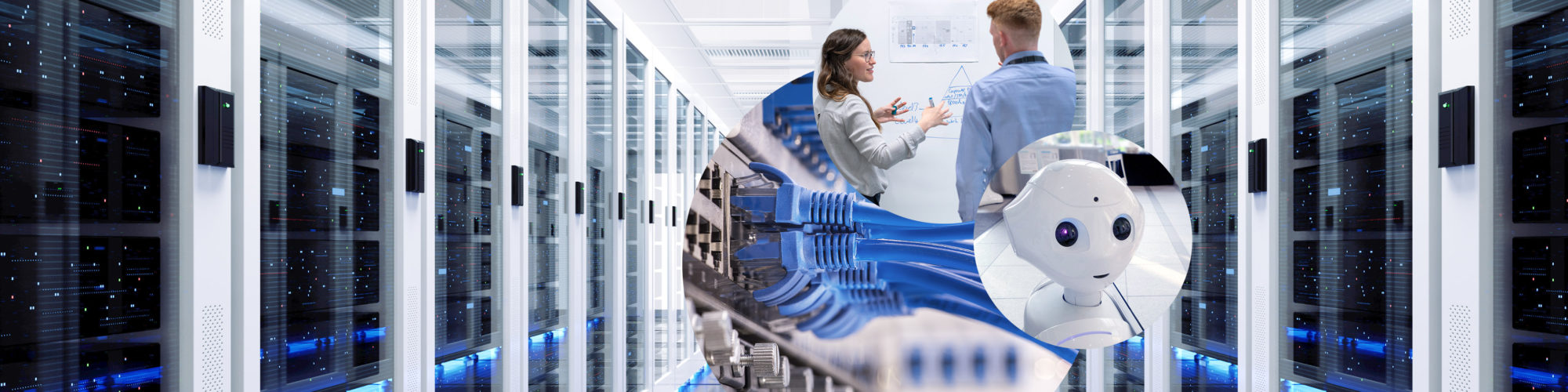 Header image of our Data Science service page consisting of a server room, a robot and two people discussing in front of a flipchart.