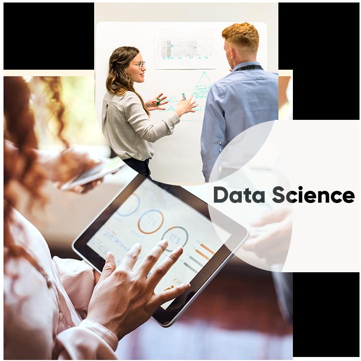 Hier ist ein Dreiklang abgebildet aus einer Schulungssituation, des Themas Data Science und einer Frau mit I-Pad