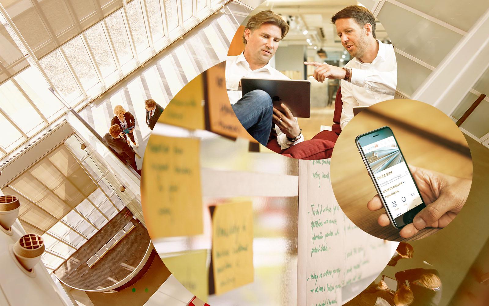 Bild von Urs Haeusler und Marc Philipp, valantic CEC Schweiz, Post-its an einem Whiteboard, Handy, Tablet, digitale Strategien