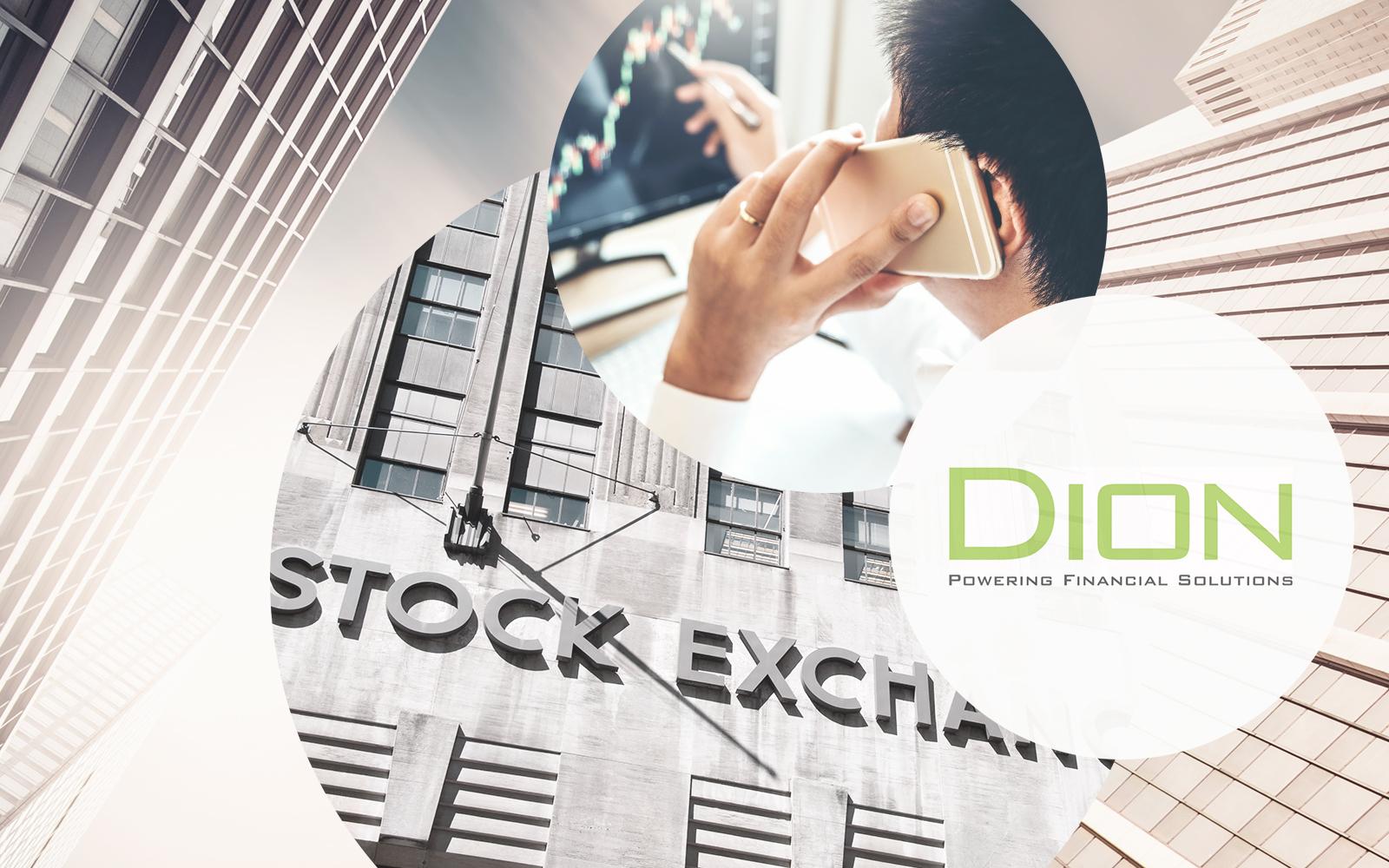 Dion Logo, daneben ein Bild von einem gehenden Mann mit Smartphone in der Hand und dahinter Bilder von einem Gebäude und einer Stadt, Dion Global Solutions GmbH wird Teil der valantic Gruppe