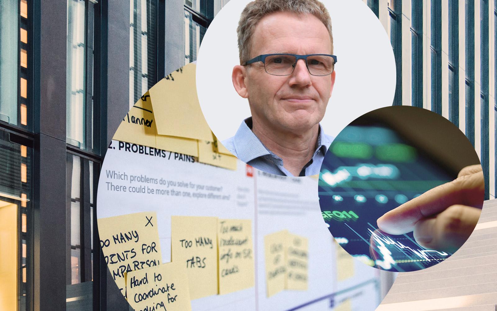 Foto von Dirk Vesper, Vice President Product Development bei valantic, daneben Bild von einer Grafik und dahinter Bilder von Post It's und von einem Gebäude