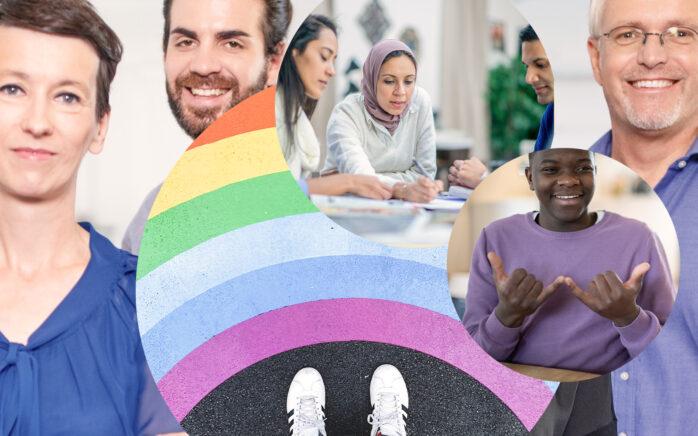 Bild von Luftballons in Refenbogenfarben und Regenbogen-Flaggen, daneben eine Collage von valantic Mitarbeitenden; Diversität & Inklusion bei valantic
