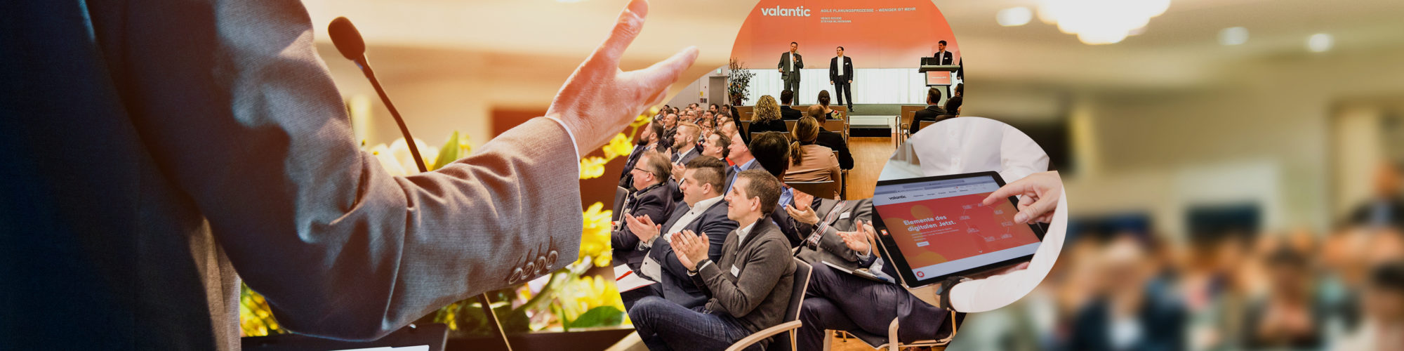Image of a speaker at a digital congress, an applauding audience
