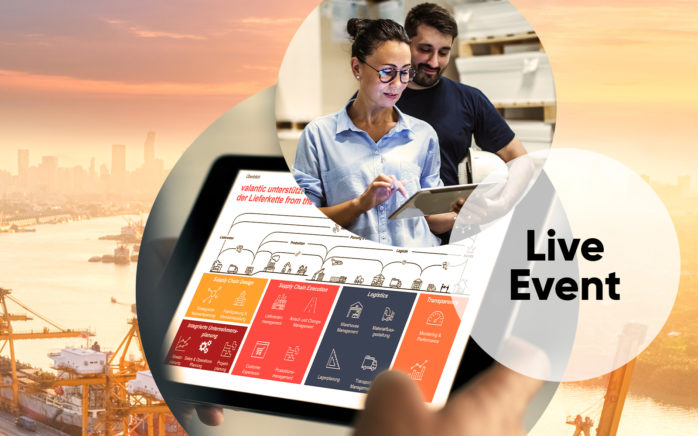 Image of two people in a warehouse, including the image of a tablet, in the background an industrial port with containers and cranes, valantic Supply Chain Management & Logistics, Event category Live event