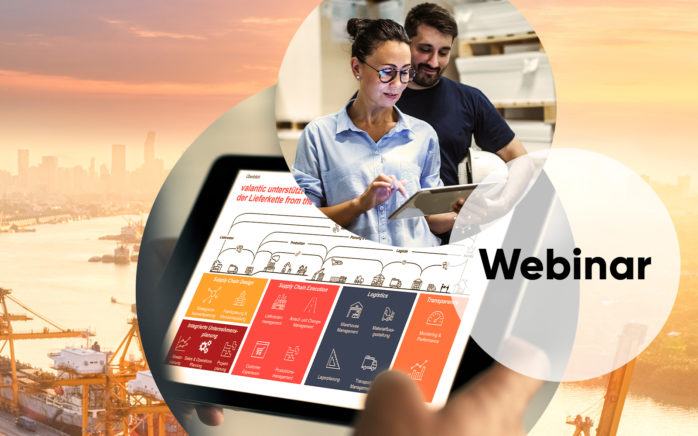Image of two people in a warehouse, including the image of a tablet, in the background an industrial port with containers and cranes, valantic Supply Chain Management & Logistics, Event category Webinar