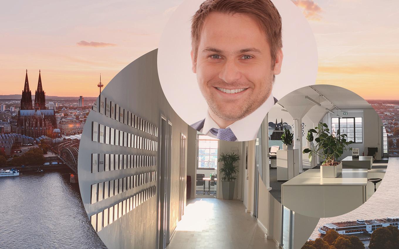 Bild von Felix Marx, Managing Consultant bei Linkit Consulting - a valantic company, im Hintergrund Büroräume von Linkit und die Stadtansicht von Köln