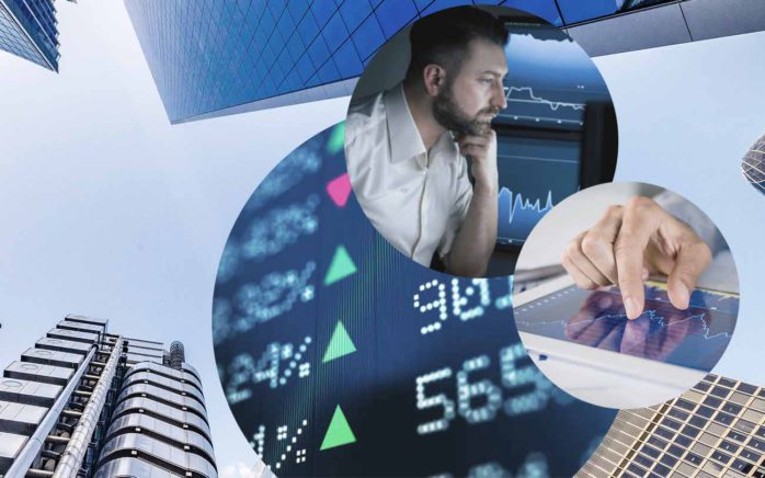 Picture of a man in front of some screens, next to it a picture of a tablet with an open graphic and behind it pictures of stock prices and of buildings, valantic Financial Service Automation and Digitalisation in the Finance Industry in London