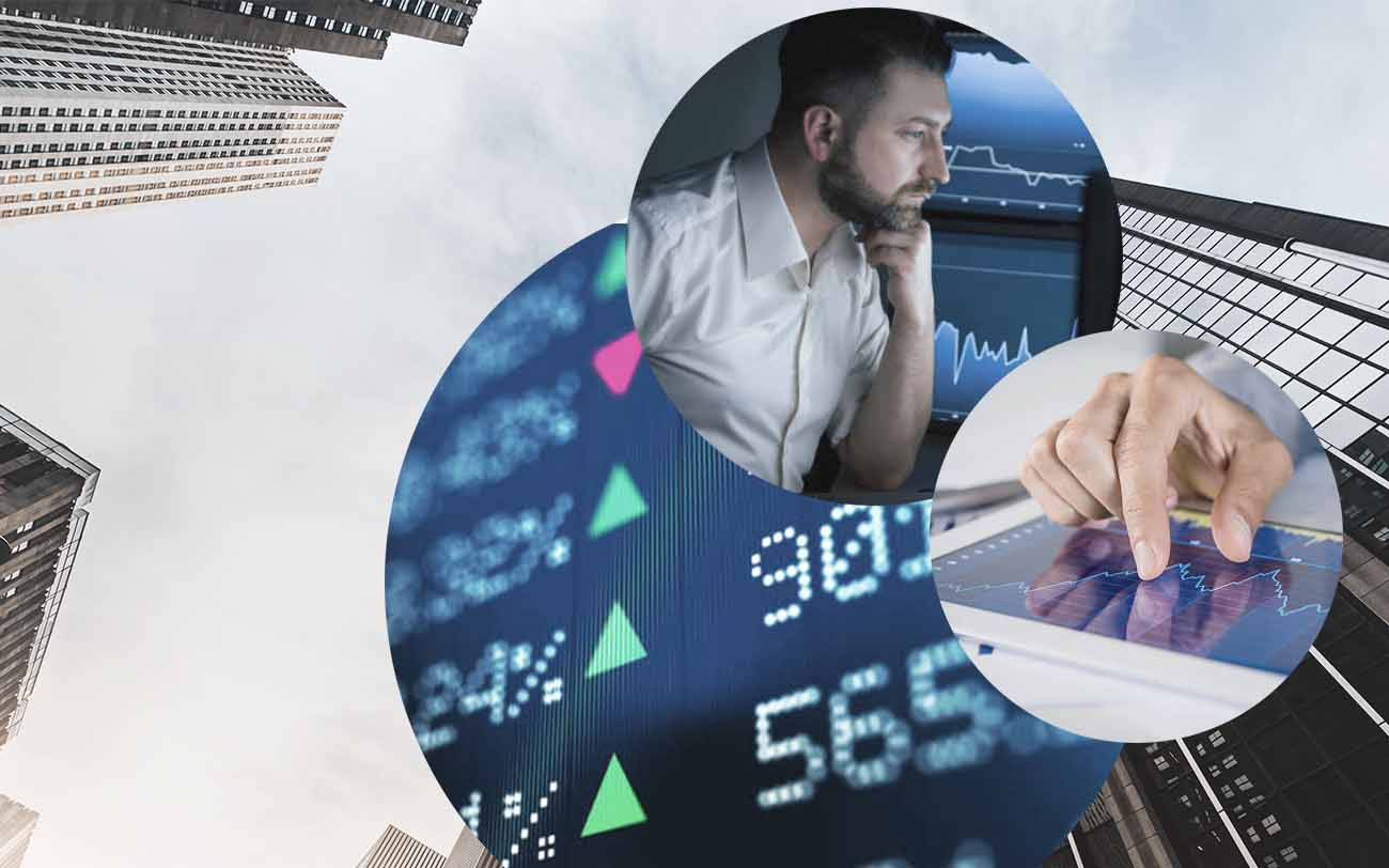 Picture of a man in front of some screens, next to it a picture of a tablet with an open graphic and behind it pictures of stock prices and of buildings, valantic Financial Service Automation and Digitalisation in the Finance Industry in Manhattan
