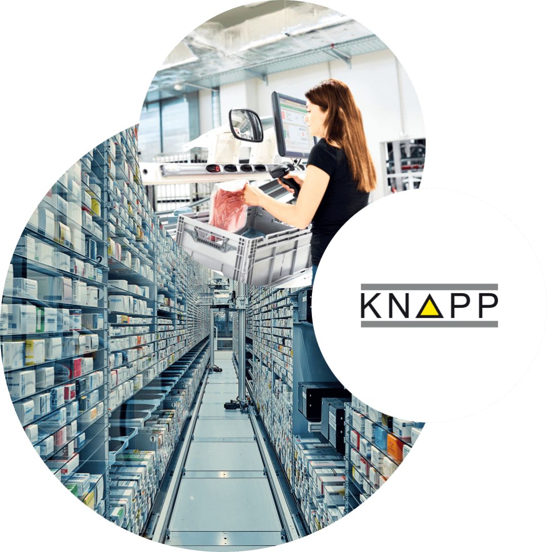Picture of a woman working in a warehouse, next to it the logo of Knapp and behind it a picture of a warehouse, valantic Supply Chain Excellence Day at Knapp