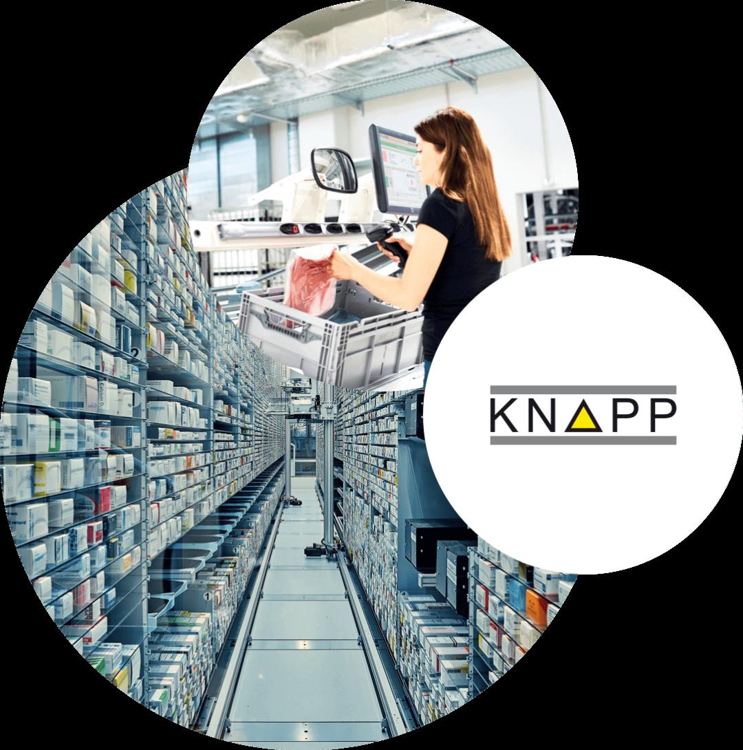 Bild von einer Frau, die in einem Lager arbeitet, daneben das Logo von Knapp und dahinter ein Bild von einer Lagerhalle, valantic Supply Chain Excellence Day bei Knapp