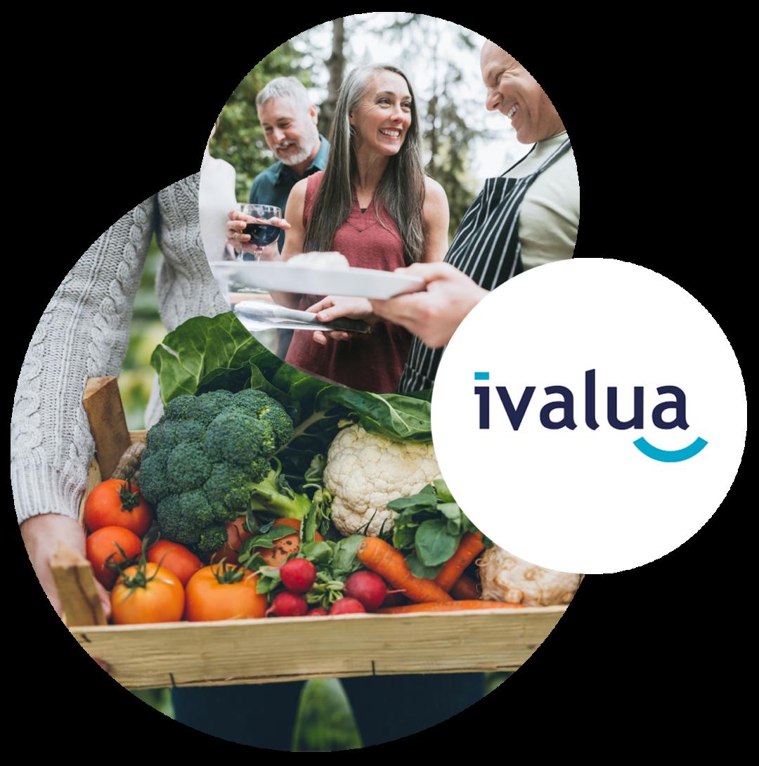 Bild von Personen beim Essen, daneben das ivalua Logo, Event: Digitaler Einkauf mit ivalua und valantic
