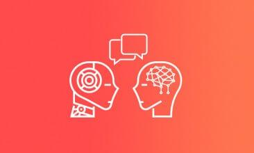 valantic Icon von zwei Personen mit Sprechblasen, Chatbot im Customer Engagement