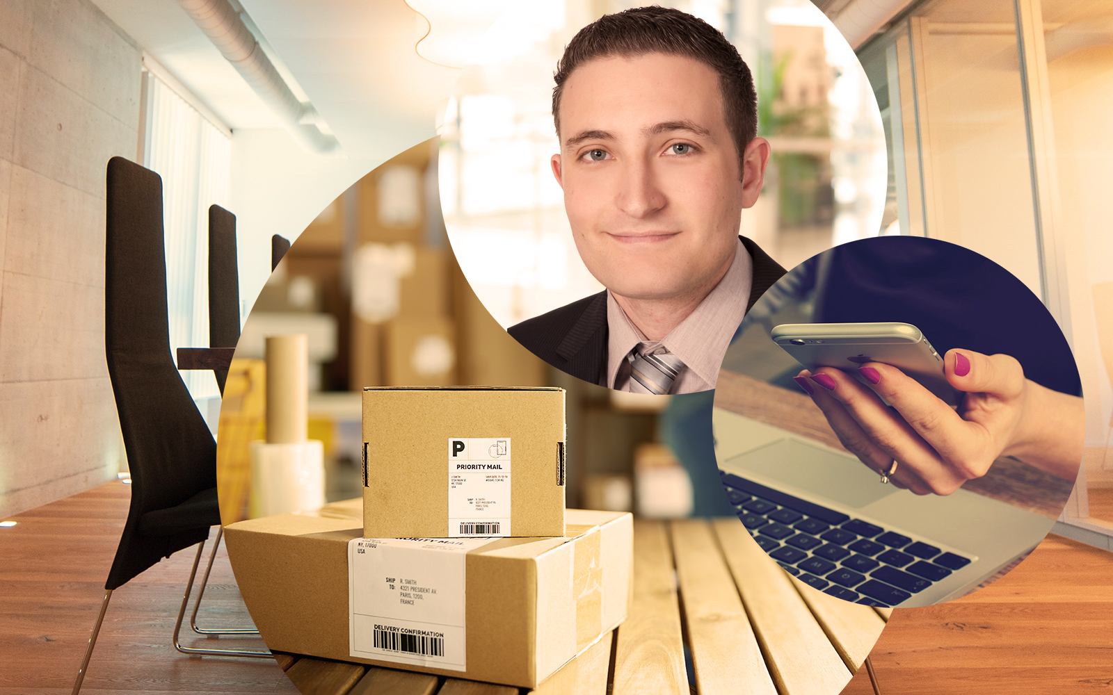 Picture of Simon Hamm, valantic CEC Germany, next to it a smartphone and stacked packages